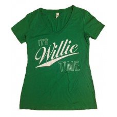 """It's Willie Time"" V-Neck T-shirt  - Green"